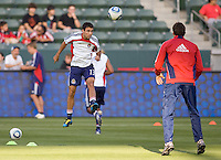CD Chivas USA Jonathan Bornstein (13) upon his return from the his World Cup performance in South Africa warms up before the match. The Philadelphia Union and CD Chivas USA played to 1-1 draw at Home Depot Center stadium in Carson, California on Saturday evening July 3, 2010..