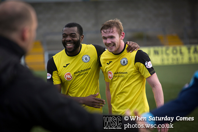 Forfar Athletic 1 Edinburgh City 2, 02/02/2017. Station Park, SPFL League 2. Winning goal scorer Lewis Allan (right) is congratulated by teammate Joe Mbu on the pitch at Station Park, Forfar after the SPFL League 2 fixture between Forfar Athletic and Edinburgh City (in yellow). It was the club's sixth and final meeting of City's inaugural season since promotion from the Lowland League the previous season. City came from behind to win this match 2-1, watched by a crowd of 446. Photo by Colin McPherson.