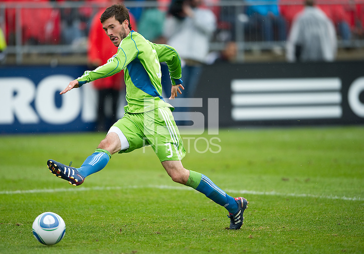 25 April 2010: Seattle Sounders midfielder Brad Evans #3 in action during a game between the Seattle Sounders and Toronto FC at BMO Field in Toronto..Toronto FC won 2-0....