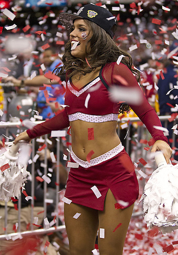 January 02, 2014:  Oklahoma pom squad member Heather Hamilton performs during post game celebration of NCAA Football game action between the Oklahoma Sooners and the Alabama Crimson Tide at Mercedes-Benz Superdome in New Orleans, Louisiana.  Oklahoma defeated Alabama 45-31.