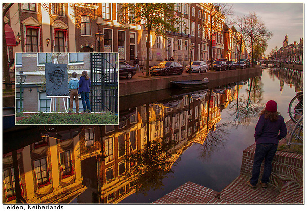 Unobtrusive Photographer.  <br /> Step back and be the unobtrusive photographer.  Wife enjoying canal in Leiden, Netherlands.