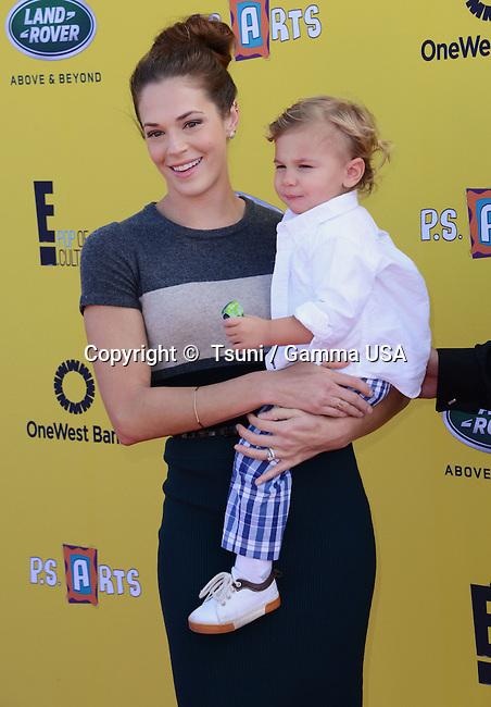 Amanda Righetti and son Know Alan 248 2014 P.S. Arts Express Yourself event at  the Barker Hangar in Santa Monica. LA<br /> November 16, 2014
