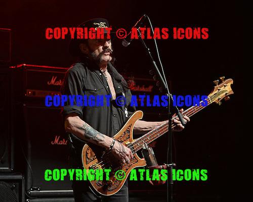 POMPANO BEACH, FL - SEPTEMBER 26: Lemmy Kilmister of Motorhead performs at The Pompano Beach Amphitheater on September 26, 2015 in Pompano Beach Florida. Credit Larry Marano © 2015