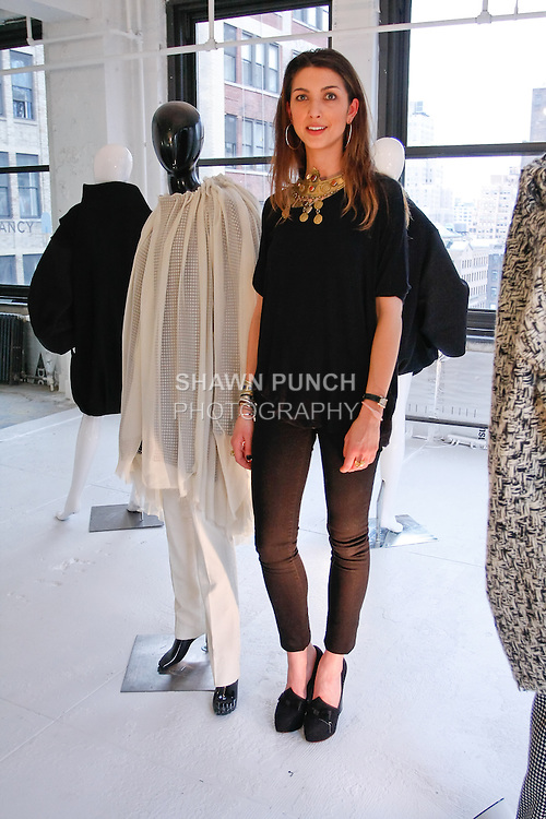 """Claire Diederichs presents her collection at """"The First Eighteen"""", Parsons MFA Fashion Exhibition Reception opening hosted by Donna Karan at 1359 Broadway NYC, May 14, 2012."""