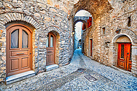 Traditional houses in the medieval mastic village of Mesta on the island of Chios, Greece