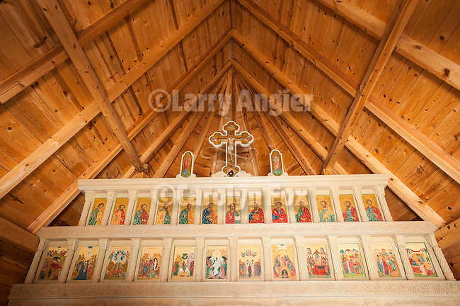 Icons and iconostasis inside St. Sava church in the ethnic village of Drvengrad (timber town) at Mokra Gora, Serbia