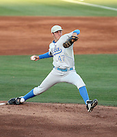 Trevor Bauer#47 of the UCLA Bruins pitches against the Arizona State University Sun Devils at Packard Stadium on May 28, 2011 in Tempe, Arizona..Photo by:  Bill Mitchell/Four Seam Images.