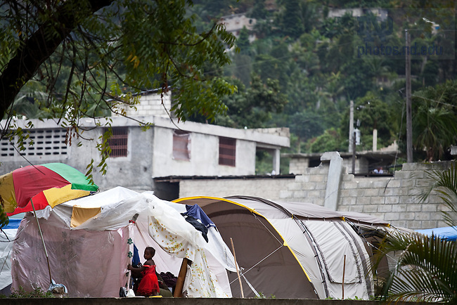 Temporary housing on the grounds of the Ecole Pere Basil Moreau in Port-Au-Prince, Haiti...Photo by Matt Cashore/University of Notre Dame