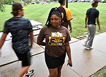 Britney Christian during freshman move-in day at Harris-Stowe State University in St. Louis on Wednesday August 15, 2018.    Photo by Tim Vizer