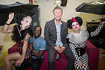 © Joel Goodman - 07973 332324 . 12/04/2015 . Manchester , UK . Paul Leveridge (aka Kermit ) and Bez with clowns , backstage after the show . Black Grape perform a reunion gig in support of Bez's Reality Party at the Old Granada Studios Warehouse . Photo credit : Joel Goodman