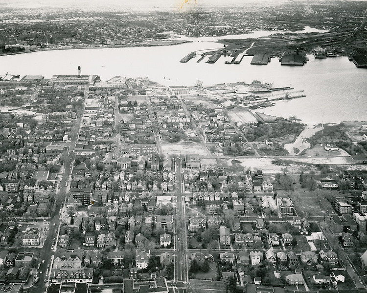 1956 March 17..Redevelopment.Atlantic City (R-1)..View looking South .Ghent in foreground.Portsmouth in background across river..PHOTO CRAFTSMEN INC..NEG# 28-552.NRHA# 408..