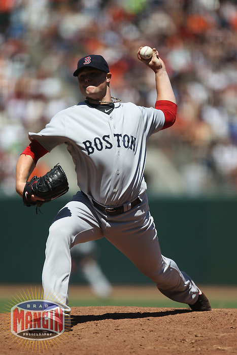 SAN FRANCISCO - JUNE 27:  Jon Lester of the Boston Red Sox pitches against the San Francisco Giants during the game at AT&T Park on June 27, 2010 in San Francisco, California. Photo by Brad Mangin