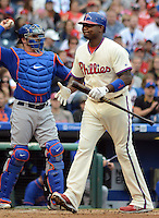 Philadelphia Phillies Ryan Howard reacts after striking out in the second inning against the New York Mets Sunday October 2, 2016 at Citizens Bank Park in Philadelphia, Pennsylvania. Howard's contract with the Phillies expires after the season and it looks like he will not be back with the team next year. (Photo by William Thomas Cain/Cain Images)