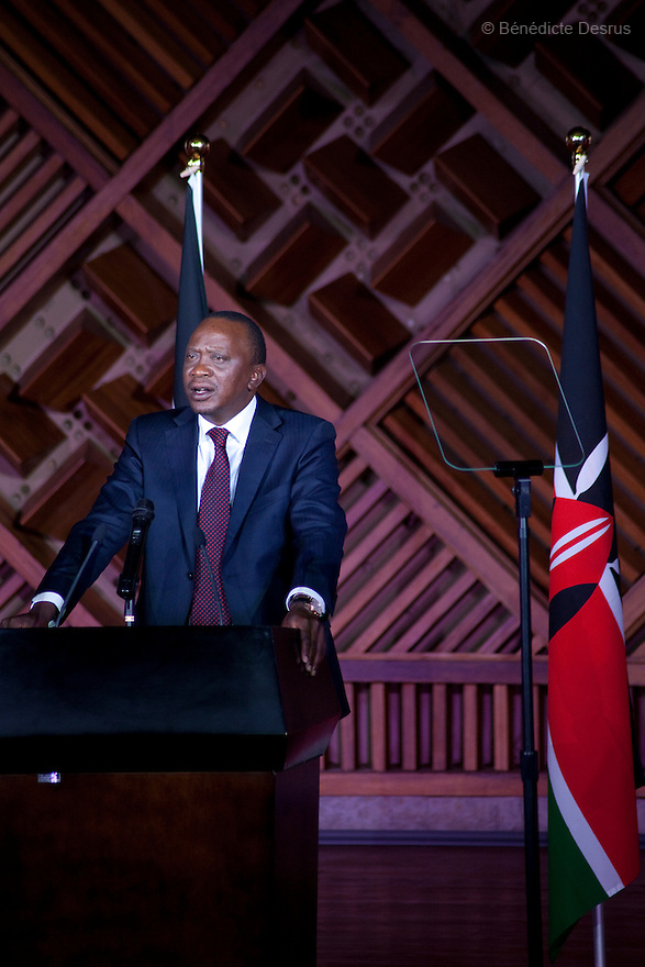 Kenya's President-Elect Uhuru Kenyatta speaks at the Catholic University in Nairobi, Kenya on March 9, 2013. Uhuru Kenyatta won the Kenya's presidential election with 50.07 % of the vote. Kenyatta faces charges for crimes against humanity at the International Criminal Court for orchestrating the 2007-08 postelection violence. Photo by Benedicte Desrus