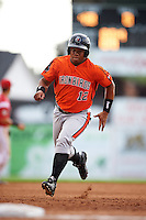 Aberdeen IronBirds first baseman Ronarsy Ledesma (12) running the bases during a game against the Batavia Muckdogs on July 15, 2016 at Dwyer Stadium in Batavia, New York.  Aberdeen defeated Batavia 4-2.  (Mike Janes/Four Seam Images)