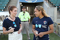 Cary, NC - Saturday April 22, 2017: Jaelene Hinkle, Kelly Glendenning prior to a regular season National Women's Soccer League (NWSL) match between the North Carolina Courage and the Portland Thorns FC at Sahlen's Stadium at WakeMed Soccer Park.