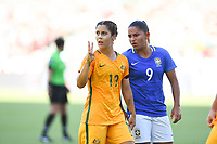 Carson, CA - Thursday August 03, 2017: Katrina Gorry, Debinha during a 2017 Tournament of Nations match between the women's national teams of Australia (AUS) and Brazil (BRA) at the StubHub Center.