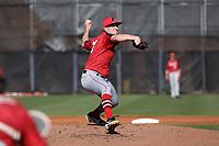GREENSBORO, NC - FEBRUARY 25: Michael Sansone #18 of Fairfield University pitches the ball during a game between Fairfield and UNC Greensboro at UNCG Baseball Stadium on February 25, 2020 in Greensboro, North Carolina.