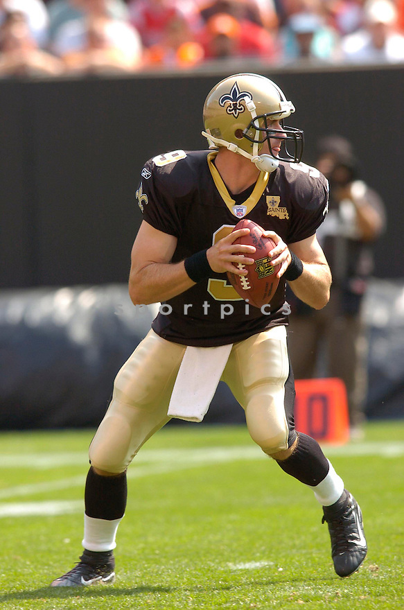 DREW BREES, of the New Orleans Saints, in action against the Cleveland Browns on September 10, 2006 in Cleveland...Chris Bernacchi / SportPics..Saints win 19-14