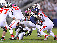 25 October 2014:  Ohio State LB Darron Lee (43) and Ohio State DE Steve Miller (88) sandwich Penn State WR DaeSean Hamilton (5) after a catch. The Ohio State Buckeyes defeated the Penn State Nittany Lions 31-24 in 2 OTs at Beaver Stadium in State College, PA.