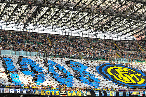 18.09.2016. San Siro Stadium, Milan, Italy. Inter Supporters at the start of Italian Serie A League Football. Inter versus Juventus as the Inter fans choreography spells out the club formation pregame