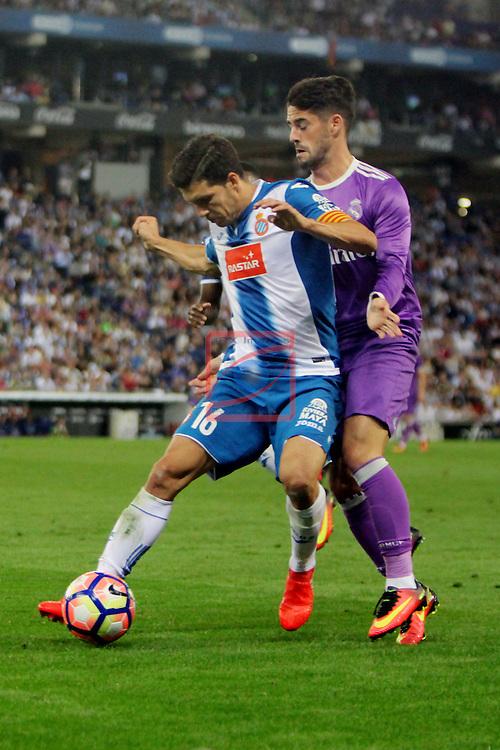 League Santander 2016/2017. Game: 4.<br /> RCD Espanyol vs R. Madrid: 0-2.<br /> Javi Lopez vs Francisco Alarcon 'Isco'.