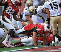 RB Devin Meggett of the Terrapins scores on a 3-yard run. Maryland defeated Navy 17-14 at the M&T Bank in Baltimore, MD on Monday, September 6, 2010. Alan P. Santos/DC Sports Box