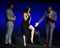 LAS VEGAS, NV - APRIL 23: (L-R) Actors Ismael Cruz Cordova, Gina Rodriguez, and Anthony Mackie onstage at the Sony Pictures Entertainment presentation at CinemaCon 2018 at The Colosseum at Caesars Palace on April 23, 2018 in Las Vegas, Nevada. (Photo by Frank Micelotta/PictureGroup)