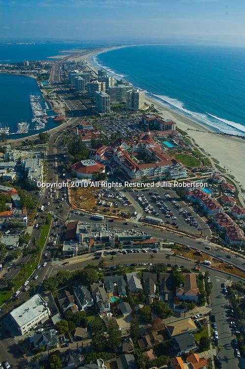 Aerial view of  San Diego and Coronado Beaches, California