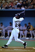 SEATTLE, WA:  Ken Griffey Jr. of the Seattle Mariners bats during a game against the Oakland Athletics at the Kingdome in Seattle, Washington in 1996. (Photo by Brad Mangin)