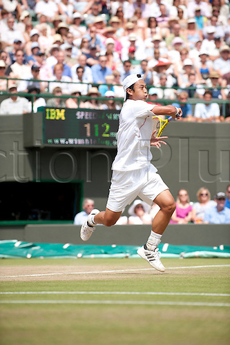 June 30th 2010: Wimbledon International Tennis Tournament held at the All England Lawn Tennis Club, London, England, Yen-Hsun Lu of TPE playing Novak Djokovic in the mens singles quarter finals