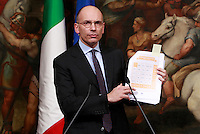 """20140212 ROMA-POLITICA: LETTA PRESENTA L'""""IMPEGNO ITALIA"""""""