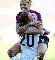 Natasha Kai celebrates the fourth goal scored by Abby Wanbach (20). USA 4,  Norway 0, Fredrikstad Stadium, July 2, 2008.