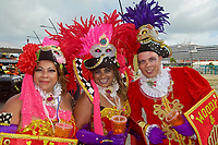P- Carnival Parade with HAL Koningsdam at Pier in Background - S. Caribbean Cruise, Oranjestad Aruba