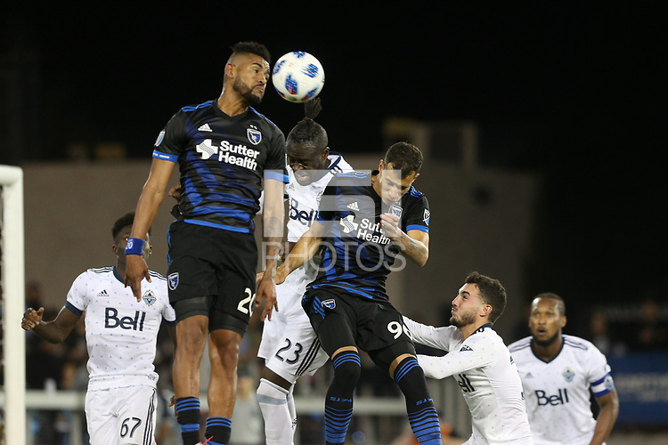 San Jose, CA - Saturday August 25, 2018: Anibal Godoy, Kei Kamara, Luis Felipe during a Major League Soccer (MLS) match between the San Jose Earthquakes and Vancouver Whitecaps FC at Avaya Stadium.