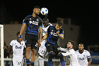 San Jose, CA - Saturday August 25, 2018: Anibal Godoy, Kei Kamara, Luis Felipe during a Major League Soccer (MLS) match between the San Jose Earthquakes and Vancouver Whitecaps FC at Avaya Stadium.