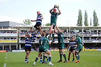 Sebastian De Chaves of London Irish wins the ball at a lineout. Aviva Premiership match, between Bath Rugby and London Irish on May 5, 2018 at the Recreation Ground in Bath, England. Photo by: Patrick Khachfe / Onside Images