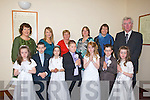Children with their mentor and Principal of Killahan NS who made their Holy Communion on Saturday in St Brenard's Church Abbeydorney on Saturday. Front l-r:  Amy Moriarty, Nathan O'Brien, Hannah Mullins, Dylan Walsh, Leah Brennan, Dylan Griffin and Emily Moriarty. Back l-r: Annette Dineen, Karen Lawlor, Mary Nolan, Bri?d Leonard, Grace Pinkheard and Jerry Doyle (principal)...