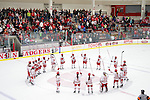 Wisconsin Badgers celebrate a victory after an NCAA women's college playoff ice hockey game against the St. Cloud State Huskies Saturday, March 2, 2013, in Madison, Wis. The Badgers won 4-1. (Photo by David Stluka)