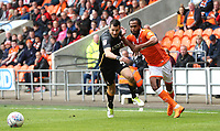 Bradford City's Ryan McGowan and Blackpool's Nathan Delfouneso<br /> <br /> Photographer Rachel Holborn/CameraSport<br /> <br /> The EFL Sky Bet League One - Blackpool v Bradford City - Saturday September 8th 2018 - Bloomfield Road - Blackpool<br /> <br /> World Copyright &copy; 2018 CameraSport. All rights reserved. 43 Linden Ave. Countesthorpe. Leicester. England. LE8 5PG - Tel: +44 (0) 116 277 4147 - admin@camerasport.com - www.camerasport.com