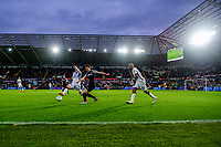 Liam Cullen of Swansea City vies for possession with Craig Forsyth of Derby County during the Sky Bet Championship match between Swansea City and Derby County at the Liberty Stadium in Swansea, Wales, UK. Saturday 08 February 2020