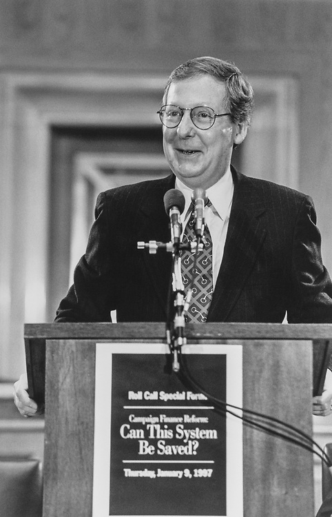 Close-up of Sen. Mitch McConnell, R-Ky., on Jan. 9, 1997. (Photo by Maureen Keating/CQ Roll Call via Getty Images)