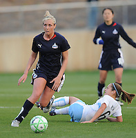 Washington Freedom midfielder Allie Long (9) takes the ball from Chicago Reds Stars midfielder Brittany Klein (6)  Washington Freedom tied Chicago Red Stars 1-1  at The Maryland SoccerPlex, Saturday April 11, 2009.