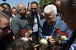 Palestinian President Mahmoud Abbas visits the Jalazone refugee camp, near the West Bank city of Ramallah, August 10, 2019. Photo by Thaer Ganaim