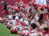 NWA Democrat-Gazette/MICHAEL WOODS &bull; @NWAMICHAELW<br /> University of Arkansas stretch out as they get ready to start practice Thursday August 6, 2015 in Fayetteville.