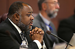 Nevada Assemblyman Jason Frierson, D-Las Vegas, works in committee on the final day of the 77th Legislative session at the Legislative Building in Carson City, Nev., on Monday, June 3, 2013. <br /> Photo by Cathleen Allison