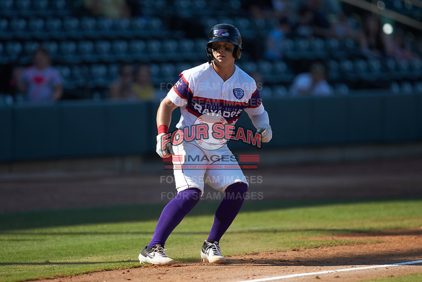 Steele Walker (6) of the Winston-Salem Rayados takes his lead off of third base against the Lynchburg Hillcats at BB&T Ballpark on June 23, 2019 in Winston-Salem, North Carolina. The Hillcats defeated the Rayados 12-9 in 11 innings. (Brian Westerholt/Four Seam Images)