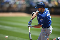 OAKLAND, CA - AUGUST 16:  Eric Hosmer #35 of the Kansas City Royals bats against the Oakland Athletics during the game at the Oakland Coliseum on Wednesday, August 16, 2017 in Oakland, California. (Photo by Brad Mangin)