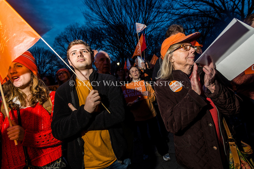 New York, NY 13 December 2015 Families, advocates and Survivors dressin in orange for a walk & rally in Central Park to mark the 3rd Anniversary of the shooting at Sandy Hook School and call for common ssense gun laws.