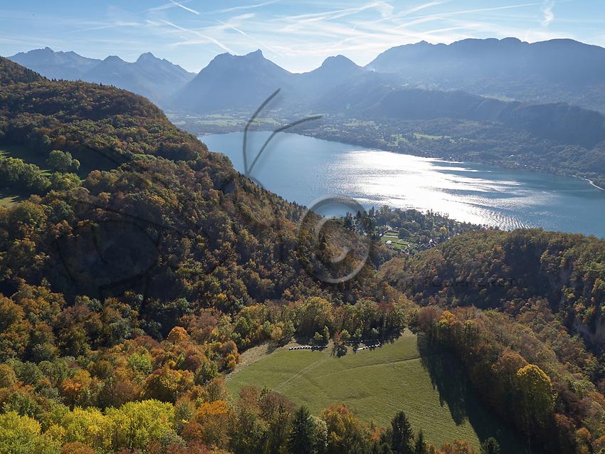 Aerial view in autumn of an apiary near the Forclaz Pass near Annecy. Vue aérienne en automne d'un rucher près du col de la Forcaz près d'Annecy.